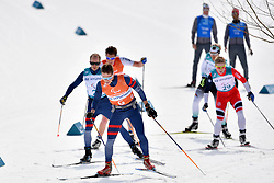 CHALENCON Anthony FRA B1 Guide: VALVERDE Simon, BYE Eirik NOR B3 Guide: NELSON Arvid competing in the ParaSkiDeFond, Para Nordic Skiing, 20km at  the PyeongChang2018 Winter Paralympic Games, South Korea.