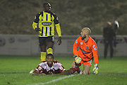 Whitehawk striker Danny Mills misses a chance during the The FA Cup 2nd Round Replay match between Whitehawk FC and Dagenham and Redbridge at the Enclosed Ground, Whitehawk, United Kingdom on 16 December 2015. Photo by Phil Duncan.
