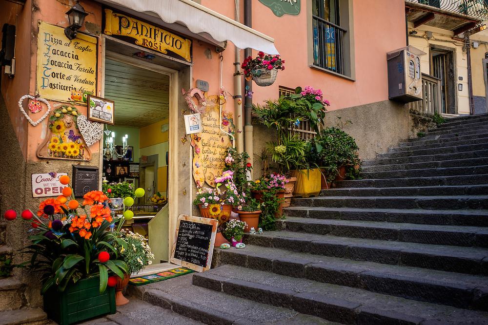 RIOMAGGIORE, ITALY - CIRCA MAY 2015:  Typical store in the village of Riomaggiore in Cinque Terre, Italy.