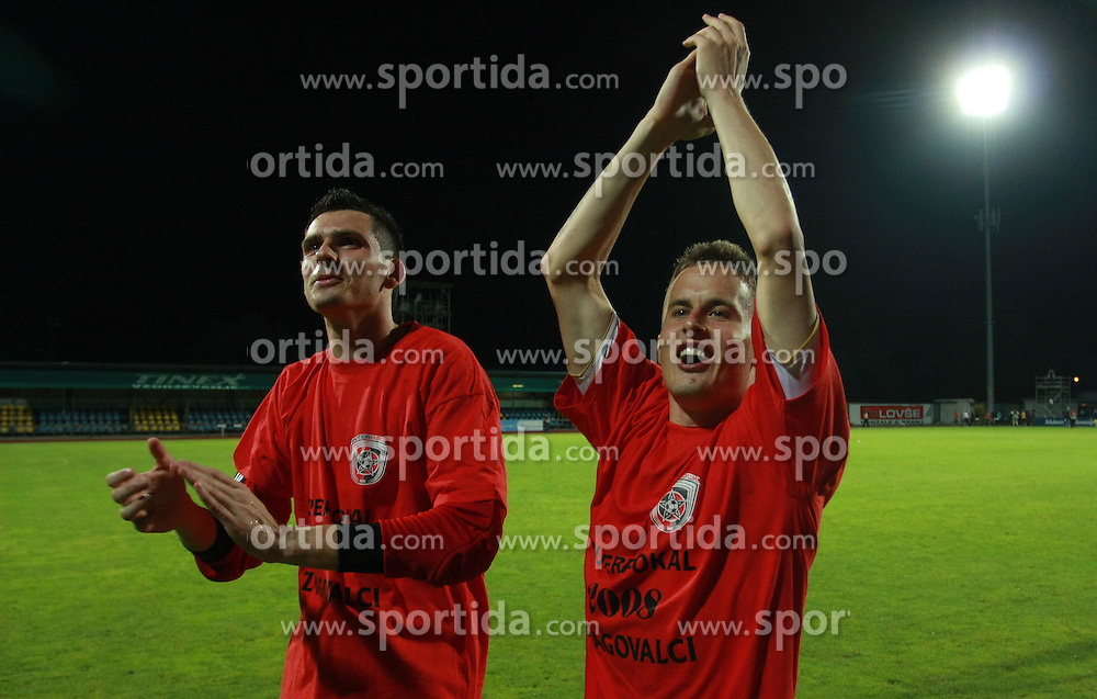 Goalkeeper of Interblock Matjaz Rozman (22) and Erik Salkic (19) of Interblock after Slovenian Supercup between NK Domzale and NK Interblock, on July 9, 2008, in Domzale. Interblock won the mach and Supercup 7:6 after penalty shots.. (Photo by Vid Ponikvar / Sportal Images)