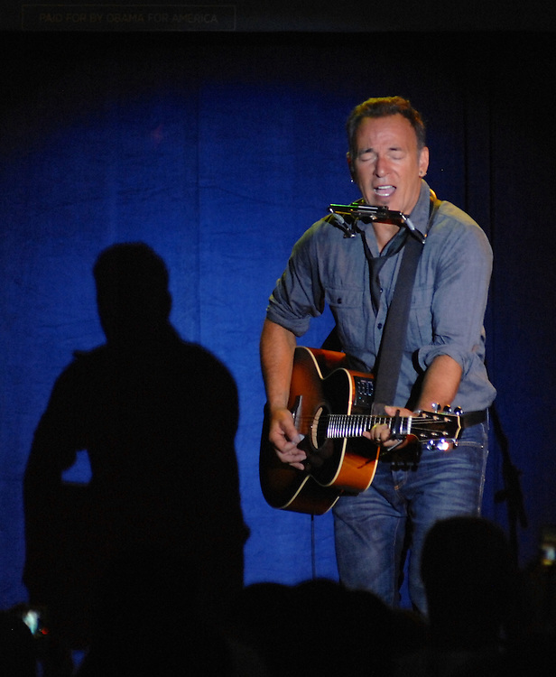 "LAURA FONG | Bruce Springsteen played six songs including a stripped-down version of the campaign favorite ""We take care of our own"", to a crowd of 3,000 in Parma Thursday."