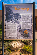 Interpretive sign at the Hovenweep Visitor Center, Hovenweep National Monument, Utah USA