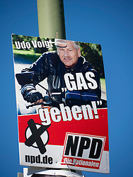 Controversial party political election poster by the NPD  or National Democratic Party of Germany in Berlin Germany before elections on 18 September 2011