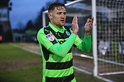 Forest Green Rovers Dayle Grubb(8) applauds the fans at the end of the match during the EFL Sky Bet League 2 match between Forest Green Rovers and Coventry City at the New Lawn, Forest Green, United Kingdom on 3 February 2018. Picture by Shane Healey.
