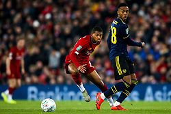 Joe Willock of Arsenal takes on Rhian Brewster of Liverpool - Mandatory by-line: Robbie Stephenson/JMP - 30/10/2019 - FOOTBALL - Anfield - Liverpool, England - Liverpool v Arsenal - Carabao Cup