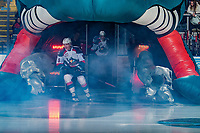 KELOWNA, CANADA - FEBRUARY 8:  Cayde Augustine #5 of the Kelowna Rockets enters the ice against the Prince George Cougars on February 8, 2019 at Prospera Place in Kelowna, British Columbia, Canada.  (Photo by Marissa Baecker/Shoot the Breeze)