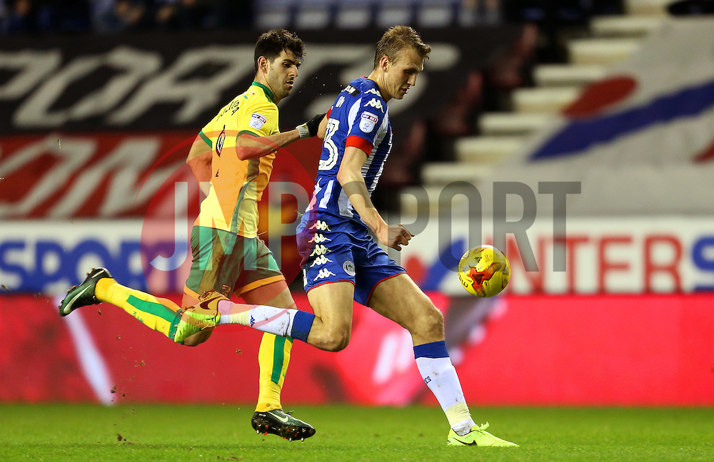 Dan Burn of Wigan Athletic and Nelson Oliveira of Norwich City - Mandatory by-line: Matt McNulty/JMP - 07/02/2017 - FOOTBALL - DW Stadium - Wigan, England - Wigan Athletic v Norwich City - Sky Bet Championship