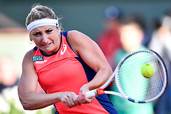 PARIS, June 7, 2017  Timea Bacsinszky of Switzerland returns the ball during the women's singles quarterfinal against Kristina Mladenovic of France at the 2017 French Open Tennis Tournament in Paris, France on June 6, 2017. Timea Bacsinszky won 2-0. (Credit Image: © Chen Yichen/Xinhua via ZUMA Wire)