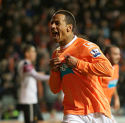 BLACKPOOL, ENGLAND - Tuesday, January 25, 2011: Blackpool's Dudley Campbell celebrates scoring the second goal against Manchester United during the Premiership match at Bloomfield Road. (Photo by David Rawcliffe/Propaganda)