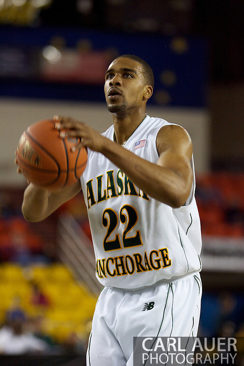 November 25th, 2010:  Anchorage, Alaska - University of Alaska-Anchorage guard Brandon Walker (22) shoots a free throw in the Seawolves 54-86 loss to Weber State in the first round of the Great Alaska Shootout.