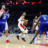 09 December 2017: LA Clippers center DeAndre Jordan (6) defends on Washington Wizards forward Otto Porter Jr. (22) during the LA Clippers 113-112 victory over the Washington Wizards, at the Staples Center, Los Angeles, California, USA.