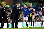 Everton Manager Carlo Ancelotti gives instructions to Everton midfielder Bernard (20) during the Premier League match between Everton and Burnley at Goodison Park, Liverpool, England on 26 December 2019.