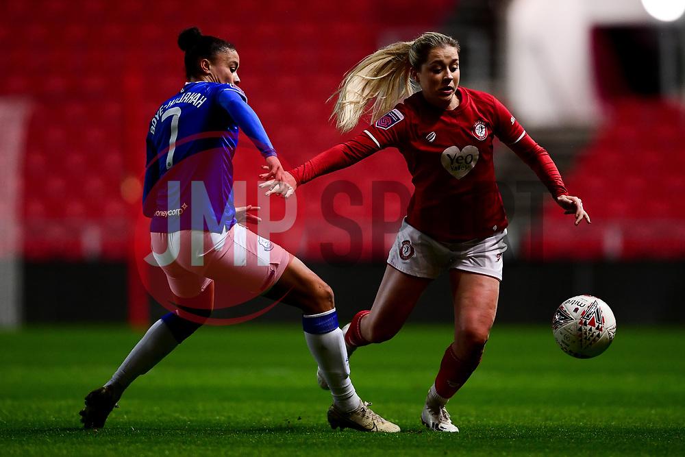 Poppy Pattinson of Bristol City is challenged by Chantelle Boye-Hlorkah of Everton Women - Mandatory by-line: Ryan Hiscott/JMP - 17/02/2020 - FOOTBALL - Ashton Gate Stadium - Bristol, England - Bristol City Women v Everton Women - Women's FA Cup fifth round