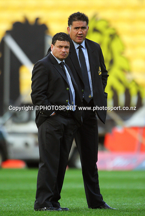 Wellington coaches Andre Bell and Jamie Joseph.<br /> Air NZ Cup semi-final. Wellington Lions v Southland Stags at Westpac Stadium, Wellington, New Zealand, Friday, 17 October 2008. Photo: Dave Lintott/PHOTOSPORT