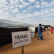 The triage tent at the Médecins Sans Frontières (MSF) health centre at the Mbera camp for Malian refugees in Mauritania on 3 March 2013.