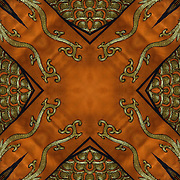 Mirrored abstract optical illusion of computer altered image, looking at shapes of repeating forms and design.<br /> <br /> Original image of traditional Chinese folk costume or regalia during the Year of the Horse Chinese Lunar New Year Celebration in New York Chinatown.