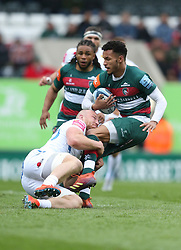 Matt Kvesic of Exeter Chiefs tackles Jordan Olowofela of Leicester Tigers - Mandatory by-line: James Baylis/JMP - 06/04/2019 - RUGBY - Welford Road - Leicester, England - Leicester Tigers v Exeter Chiefs - Gallagher Premiership Rugby