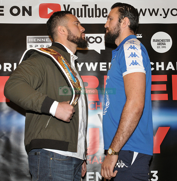 WBO world heavyweight title challenger Hughie Fury (right) and WBO champion Joseph Parker during a pre-fight press conference at the Landmark Hotel, London.