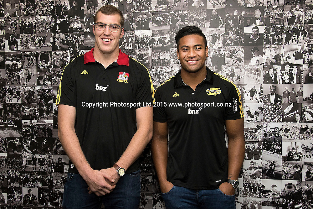 Hurricanes' Julian Savea (R with Chiefs' Brodie Retallick re-sign for four more years during a press conference at the New Zealand Rugby Union HQ in Wellington on Wednesday the 27th of May 2015. Photo by Marty Melville / www.Photosport.co.nz
