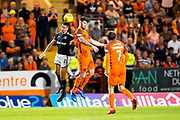 Dundee defender Cammy Kerr (#2) wins the aerial dual against Dundee United defender Mark Durnan (#4) during the Betfred Scottish Cup match between Dundee and Dundee United at Dens Park, Dundee, Scotland on 9 August 2017. Photo by Craig Doyle.