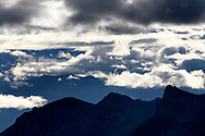 Cloud cover and the foothills of the Bernese Alps in the morning, Niederhorn, Interlaken, Berne, Switzerland