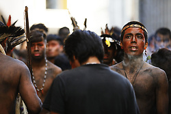March 28, 2019 - Sao Paulo, Sao Paulo, Brazil - Mar, 2019 - A group of Guarani Indians formed a camp in front of the Sao Paulo city hall building. They protest against court pay for health care workers in villages, in addition to cuts in covenants, lack of medicines, transportation and vaccines. Sao Paulo, Brazil, March 28, 2019. (Credit Image: © Marcelo Chello/ZUMA Wire)