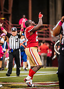 SAN FRANCISCO, CA - October 6: Frank Gore #21 of the San Francisco 49ers celebrates after a touchdown during the game against the Houston Texans at Candlestick Park on October 6, 2013 in San Francisco, California. The 49ers defeated the Texans 34-3. (Photo by Jean Fruth/San Francisco 49ers