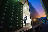 Foto: Gerrit de Heus. Een vrachtwagenchauffeur laadt zijn vrachtwagen in.
