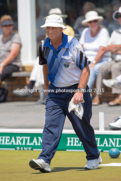 Kaikorai`s Mike Kernaghan plays in the men`s singles final at the National Open Bowls Championship 2014, Browns Bay Auckland, New Zealand, Sunday, January 04, 2015. Photo: David Rowland/www.photosport.co.nz