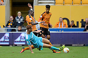 Burton Albion defender Tom Naylor (15) commits a foul on Wolverhampton Wanderers midfielder Ivan Cavaleiro (50) 0-0 during the EFL Sky Bet Championship match between Wolverhampton Wanderers and Burton Albion at Molineux, Wolverhampton, England on 10 September 2016. Photo by Alan Franklin.