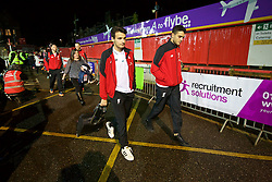 EXETER, ENGLAND - Friday, January 8, 2016: Liverpool's Pedro Chirivella and Tiago Ilori arrive at Exeter City during the FA Cup 3rd Round match at St. James Park. (Pic by David Rawcliffe/Propaganda)