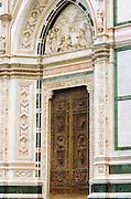 Entrance detail, Basilica di Santa Croce, Florence, Tuscany, Italy