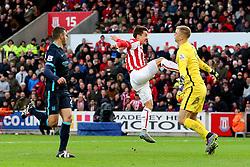 Bojan Krkic of Stoke City with a high footed tackle on Joe Hart of Manchester City  - Mandatory byline: Matt McNulty/JMP - 07966 386802 - 05/12/2015 - FOOTBALL - Britannia Stadium - Stoke, England - Stoke City v Manchester City - Barclays Premier League
