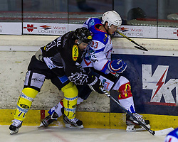 19.08.2012, Messestadion, Dornbirn, AUT, Eishockey Testspiel, Dornbirner Eishockey Club vs EV Ravensburg Towerstars, im Bild Zweikampf zwischen Dale Mitschell, (Dornbirner Eishockey Club, #71) und Simon Sezemsky, (EV Ravensburg Towerstars #93)// during a international Icehockey Friendly Match between Dornbirner Icehockey club and EV Ravensburg Towerstars at the Exhibition Stadium, Dornbirn, Austria on 2012/08/19, EXPA Pictures © 2012, PhotoCredit EXPA/ Peter Rinderer