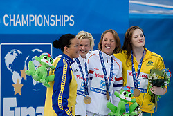 Second placed Therese Alshammar of Sweden, Winner Britta Steffen of Germany and third placed Magdalena Veldhuis of Netherlands and Cate Campbell of Australia at the victory ceremony after the Women's  50m Freestyle Final during the 13th FINA World Championships Roma 2009, on August 2, 2009, at the Stadio del Nuoto,  in Foro Italico, Rome, Italy. (Photo by Vid Ponikvar / Sportida)