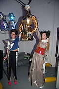 VALERIA NAPOLEONE; STEFANIA PRAMMA WIN BEST DRESSED COMPETITION PRIZE MADE BY JULIE VERHOEVEN,  Pop party. the birthday celebration of twin sisters Valeria Napoleone and Stefania Pramma. Studio Voltaire, London SW4. 17 May 2013.