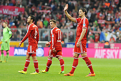 15.03.2014, Allianz Arena, Muenchen, GER, 1. FBL, FC Bayern Muenchen vs Bayer 04 Leverkusen, 25. Runde, im Bild vl Thiago Alcantara (FC Bayern Muenchen), Xherdan Shaqiri (FC Bayern Muenchen), Daniel van Buyten (FC Bayern Muenchen) der ins Publikum winkt // during the German Bundesliga 25th round match between FC Bayern Munich and Bayer 04 Leverkusen at the Allianz Arena in Muenchen, Germany on 2014/03/16. EXPA Pictures © 2014, PhotoCredit: EXPA/ Eibner-Pressefoto/ Stuetzle<br /> <br /> *****ATTENTION - OUT of GER*****