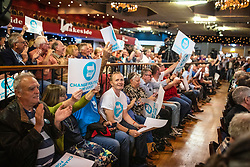 © Licensed to London News Pictures. 19/05/2019. Frimley, UK. Supporters of The Brexit Party at a rally in Frimley, Surrey. Photo credit: Rob Pinney/LNP