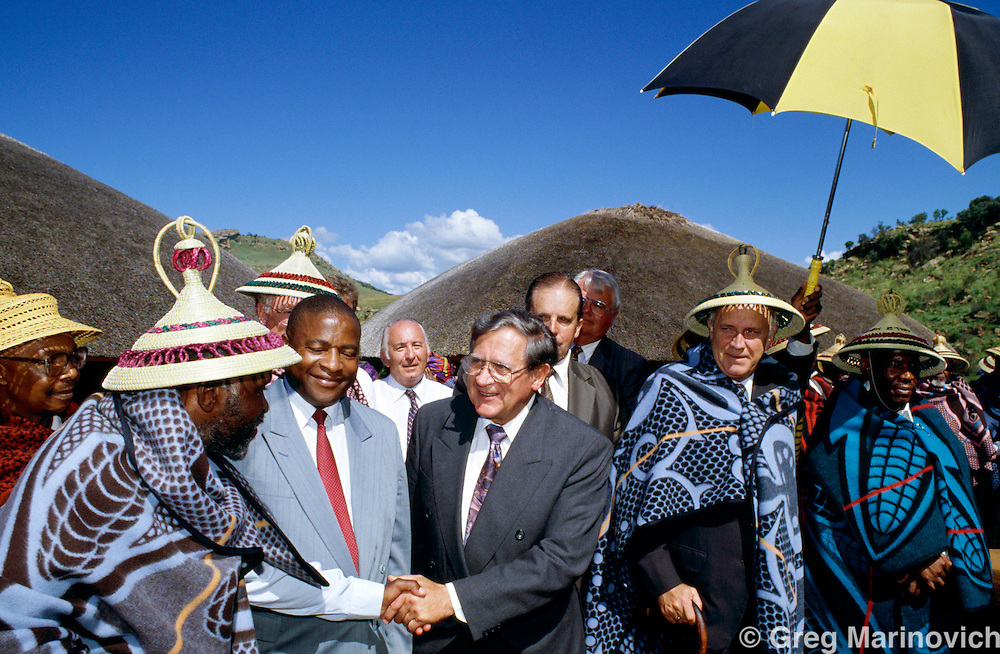President and National party leader FW de Klerkin the homeland od QwaQwa, in the campaign for the first non-racial democratic elections in South Africa.   1994