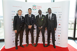 LIVERPOOL, ENGLAND - Thursday, May 12, 2016: Liverpool's Lucas Leiva, Tiago Ilori, Mamadou Sakho and Christian Benteke arrive on the red carpet for the Liverpool FC Players' Awards Dinner 2016 at the Liverpool Arena. (Pic by David Rawcliffe/Propaganda)