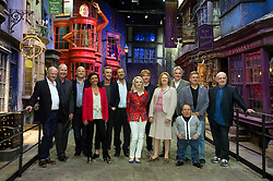 © Licensed to London News Pictures 29/03/2012 London, UK. .David Barron, (producer) Tom Felton, Evanna Lynch, David Heyman, (producer) Rupert Grint, David Yates (director)  Warwick Davies and crew at The Warner Brothers Studio Tour, 'The Making of Harry Potter' Leavesden, Herts where all 8 Harry Potter movies were made. The behind the scenes walking tour opens to the public this week..Photo credit : Simon Jacobs/LNP
