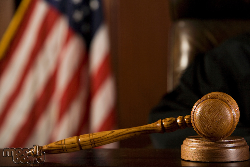Gavel lying in front of a judge