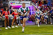 Agnatius Paasi runs out on to McDonald Jones Stadium. Newcastle Knights v Vodafone Warriors. NRL Rugby League. McDonald Jones Stadium, Newcastle, Australia. 6th July 2019. Copyright Photo: David Neilson / www.photosport.nz