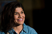DALLAS, TX - MAY 10:  Jessica Aguilar speaks to the media during the UFC 211 Ultimate Media Day at the House of Blues Dallas on May 10, 2017 in Dallas, Texas. (Photo by Cooper Neill/Zuffa LLC/Zuffa LLC via Getty Images) *** Local Caption *** Jessica Aguilar