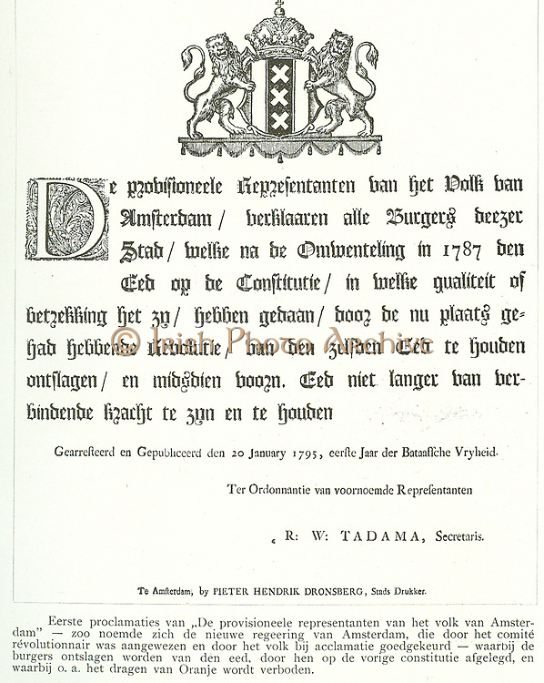 Proclamations of the provisional representation of the people of Amsterdam during the revolutions in Holland 1795
