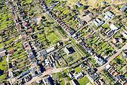 Nederland, Friesland, Schiermonnikoog, 28-02-2016; dorpskern van Schiermonnikoog met aan de kruising van de Langestrek en Oosterreeweg Hotel-Pension Van der Werff.<br /> Wadden island Schiermonnikoog, Wadden sea. <br /> luchtfoto (toeslag op standard tarieven);<br /> aerial photo (additional fee required);<br /> copyright foto/photo Siebe Swart
