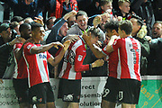 Jack Stacey (28) of Exeter City celebrates scoring the winning goal to make the score 3-2 during the EFL Sky Bet League 2 play off second leg match between Exeter City and Carlisle United at St James' Park, Exeter, England on 18 May 2017. Photo by Graham Hunt.