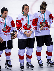 22-02-2018 KOR: Olympic Games day 13, PyeongChang<br /> Final Ice Hockey Canada - USA 2-3 / Brigette Lacquette #4 of Canada, Lauriane Rougeau #5 of Canada, Rebecca Johnston #6 of Canada