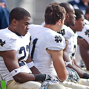 Norte Dame Sophomore Cornerback (#23) Lo Wood on the sidelines during game action at The New Giant's Stadium as Navy defeats Notre Dame 35-17 at The New Giant's Stadium in East Rutherford New Jersey