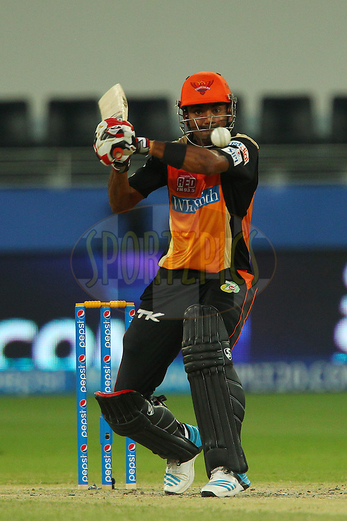 K.L Rahul of the Sunrisers Hyderabad eyes up the ball during match 20 of the Pepsi Indian Premier League Season 2014 between the Mumbai Indians and the Sunrisers Hyderabad held at the Dubai International Stadium, Dubai, United Arab Emirates on the 30th April 2014<br /> <br /> Photo by Ron Gaunt / IPL / SPORTZPICS